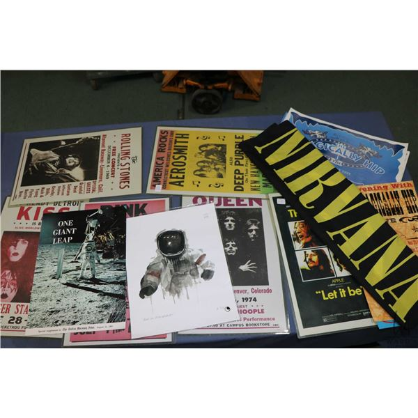Selection of concert posters including KISS, Pink Floyd, Queen, The Beetles, The Rolling Stone etc.,