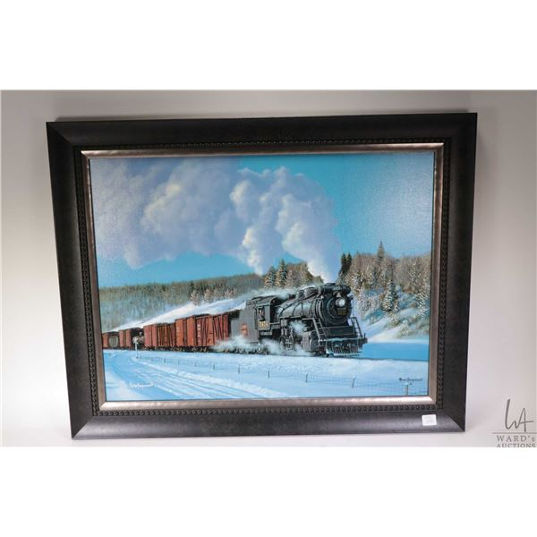 Framed limited edition giclee print of steam locomotive 2474 of the Canadian National Railway, silve