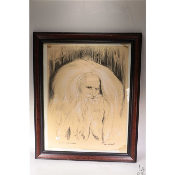 """Framed original charcoal drawing labelled on verso """"John Long as Rip Van Winkle"""" and signed by artis"""