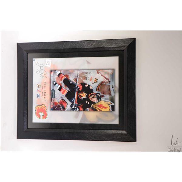 Three framed hockey prints including Iginla promo card, a Sydney Crosby collage hand signed by Crosb