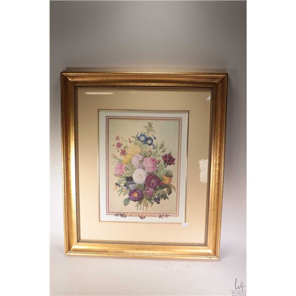"""Two gilt framed botanical floral still-life pictures, each 29"""" X 25"""". Note: Not Available For Shippi"""