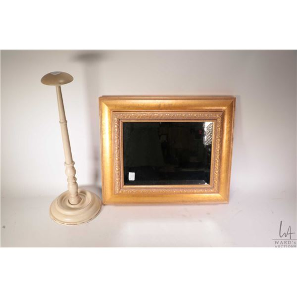 Gilt framed wall mount jewellery box and a wooden hat stand