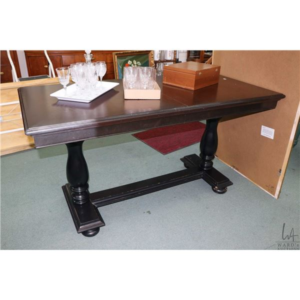 """Semi contemporary bar height, wood topped,  double pedestal table with black painted base, 36 1/2"""" i"""