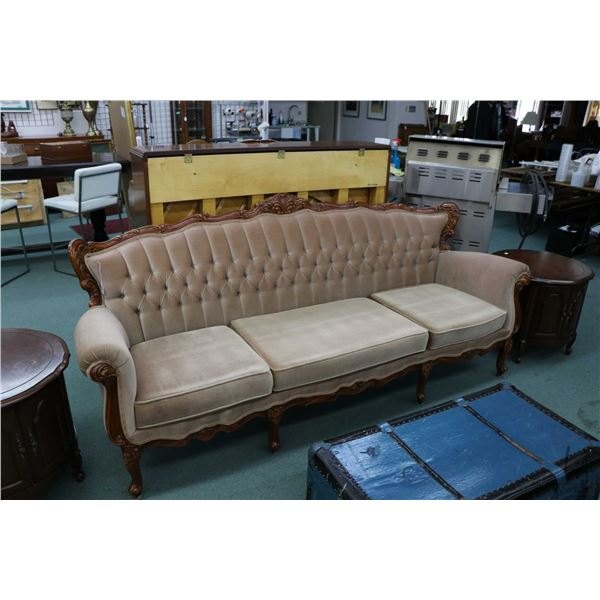 """French Provincial three seater full sized sofa 89"""" long with show wood"""
