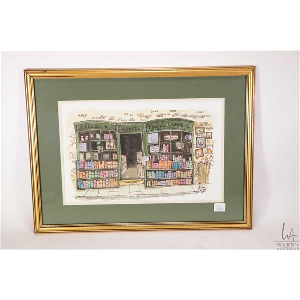 Framed original watercolour painting of Thomas Davies Bookstore signed by artist Alan Nuttall 1990,