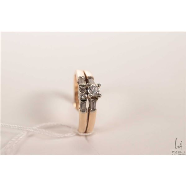 Ladies 14kt yellow gold and diamond engagement ring with matching wedding band, note rings have be s