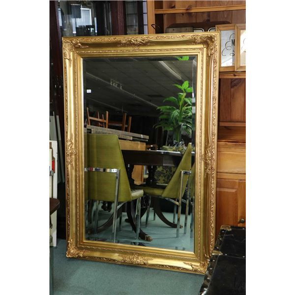 """Large gilt framed bevelled wall mirror, 58"""" X 40"""". Not Available For Shipping. Local Pickup Only"""