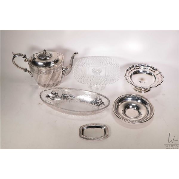 Tray lot of collectibles including Birks sterling footed comport, sterling beaded edge dish, sterlin