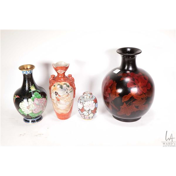 """Four pieces of Asian collectibles including 10"""" lacquered baluster vase with wooden stand, 8"""" flower"""