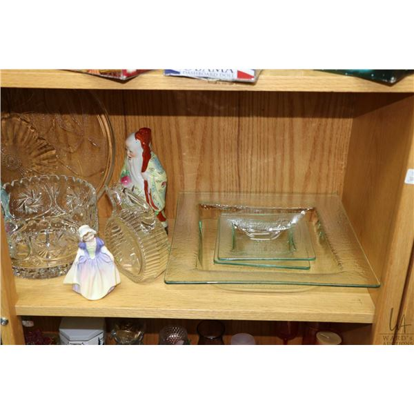 """Shelf lot of collectibles including Oriental figures, Royal Doulton figurine """"Dinky Doo"""" HN1678, pai"""