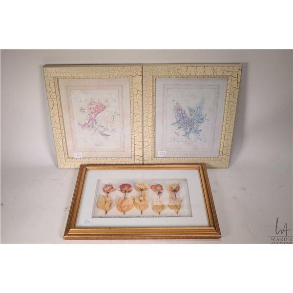 """Four framed artworks including original watercolour floral signed by artist, 8"""" X 11"""", gilt framed d"""