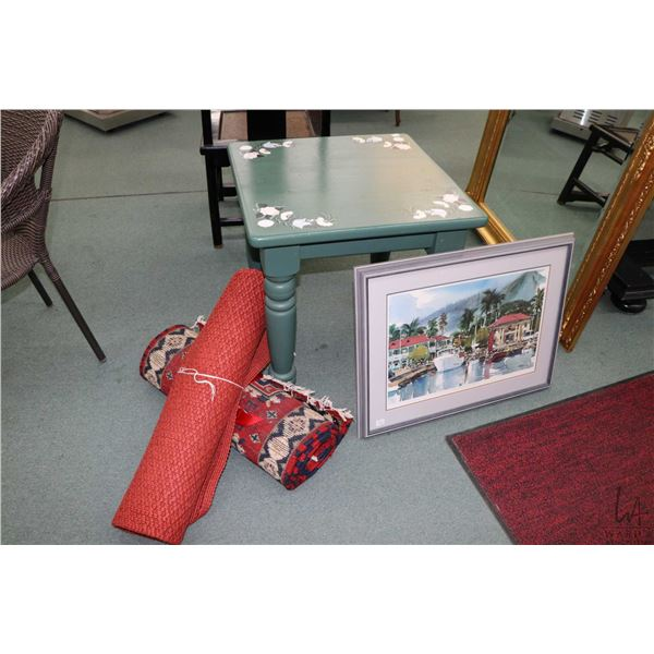"""Selection of decor items including painted pine end table, 24"""" X 76"""" fringed wool carpet runner, a r"""