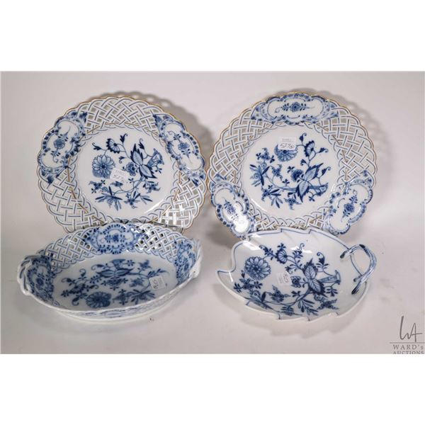 """Selection of Meissen blue and white china including two basket weave plates,  9 1/2"""" in diameter, a"""