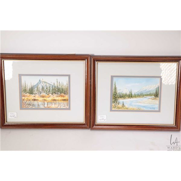 """Two small original watercolour paintings including titled on verso """"Mt. Rundle, Banff, Alberta"""" and"""