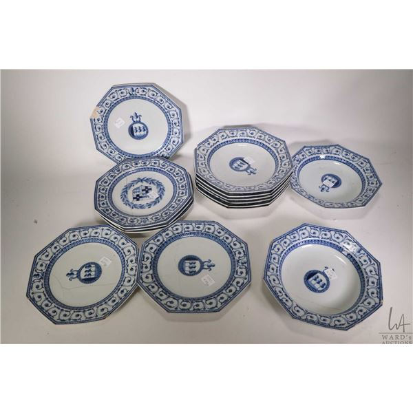 Selection of antique Chinese export semi porcelain dishes including six chamfered dinner plates 9 1/