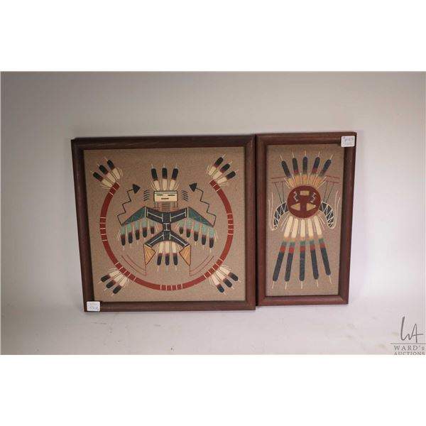 """Four framed native paintings including two Navajo sand paintings, one titled """"Thunderbird"""" 12"""" X 12"""""""