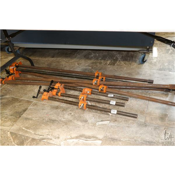Eight assorted bar clamps 2 1/2'-5'