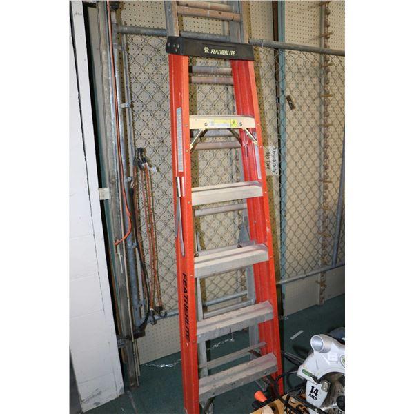 Six foot Featherlite steplander and a ten foot- eighteen foot extention ladder