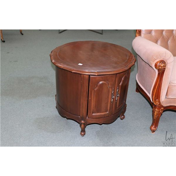 """Two French Provincial drum tables each 24"""" in diameter"""