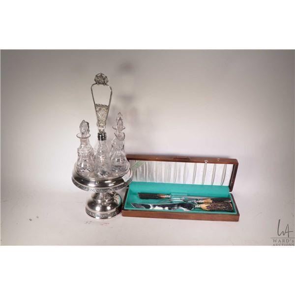 Antique silver plate cruet set, includes six glass bottles plus a boxed antler handle carving set by