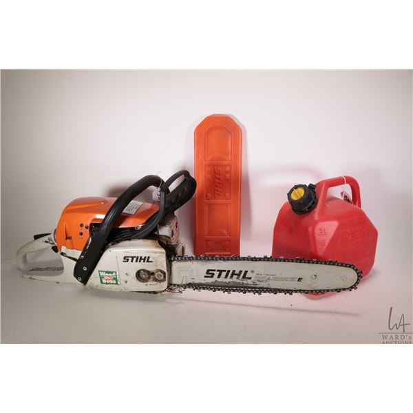 """Stihl brand MS271 16"""" chainsaw and a 5 ltr. fuel tank, tested and working"""