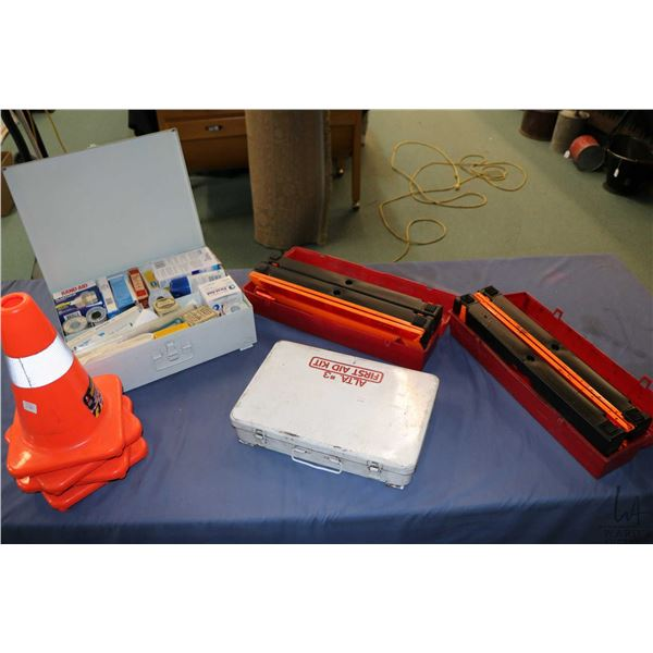 Selection of road safety equipment including two model 1005 warning triangle flare kits, four safety