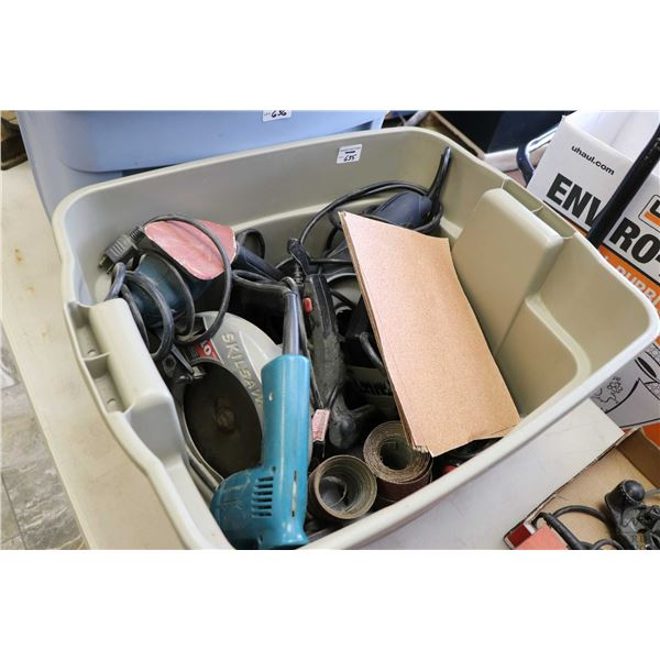 """Tub of assorted hand power tools including Skilsaw, Black & Decker mouse sanders, Makita 3/8"""" drill,"""