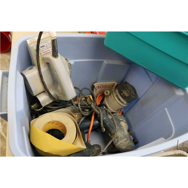 "Tub of power tools including Ryobi circular saw, Black & Decker 3/8"" drill, Makita power planer, Bla"