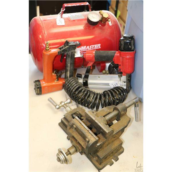 Samona nailer and an Airy nailer plus an air tank, a two way directional drill press vise