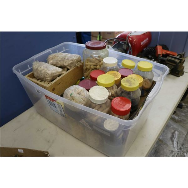 Large assortment of wood working accessories including wheels, spindles, plugs, pins and beads etc.