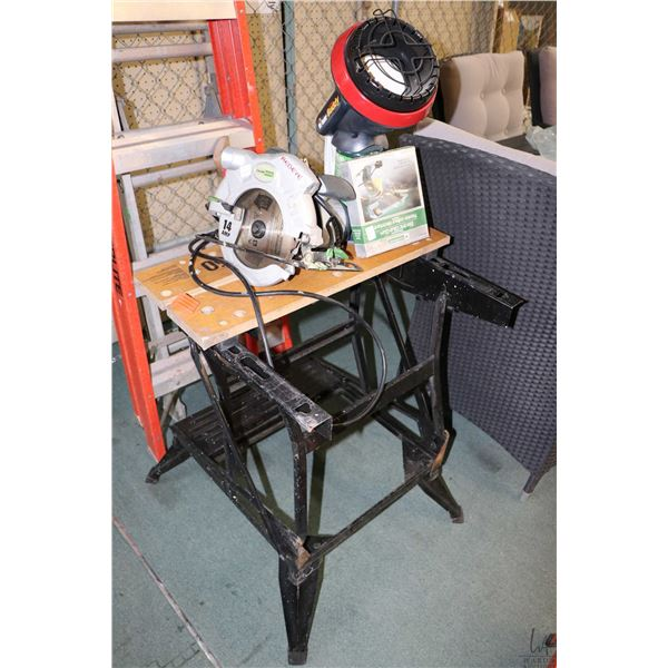 Selection of tools including Workmate folding work table, Haussmanncircular saw, Little Buddy portab