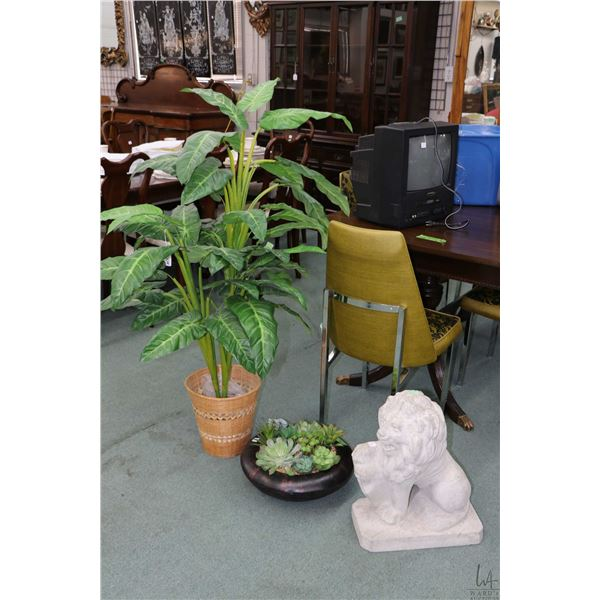 """Two faux plants including 48"""" tree and a succulent table top planter plus a 20"""" concrete lion"""
