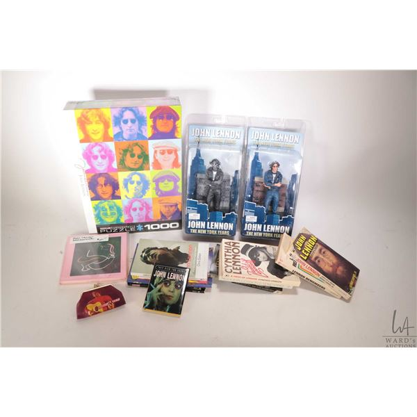 """Selection of John Lennon collectible merchandise including two Neca Action Figures of famous """"The Ne"""