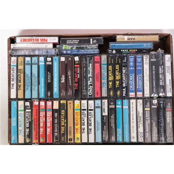 Approximately 54 count Beatles or Beatles related cassette tapes