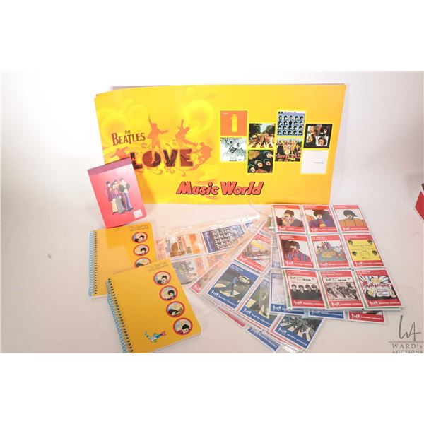 Selection of Beatles collectible merchandise including re-issue collector cards, note books etc.