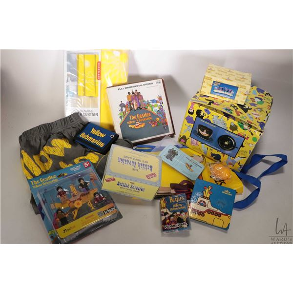Selection of Beatles Yellow Submarine merchandise including shower curtain, figures, salt and pepper