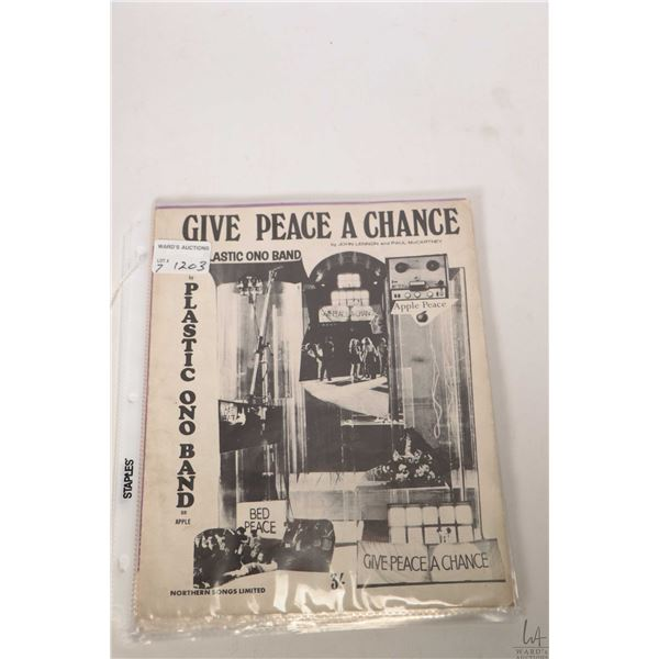 """Seven copies of vintage Beatles or related sheet music including """"Give Peace a Chance"""", Wing """"Mull o"""