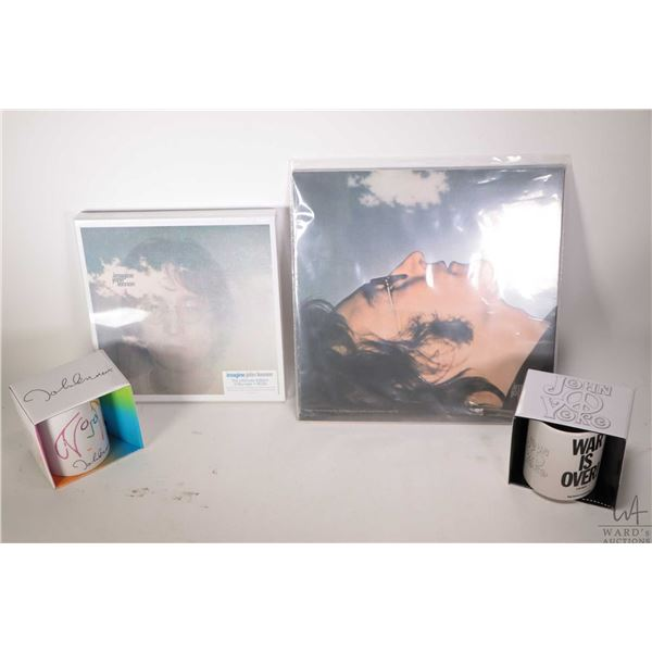 Selection of John Lennon and Yoko Ono merchandise including a factory sealed re-issue two LP clear v