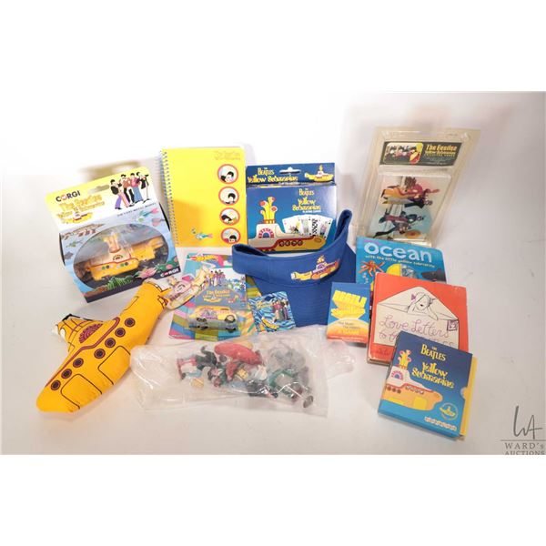 Selection of Beatles mostly Yellow Submarine collectibles including card game, 72 piece chromium car