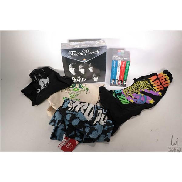 Selection of Beatles collectible merchandise including Trivial Pursuit - The Beatles Collectors Edit