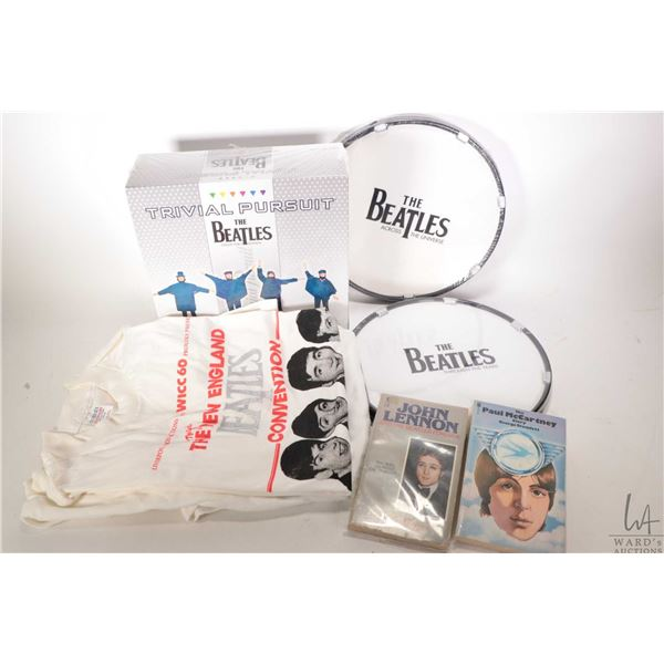 Selection of Beatles collectibles including Trivial Pursuit- The Beatles Collectors Edition, two dru
