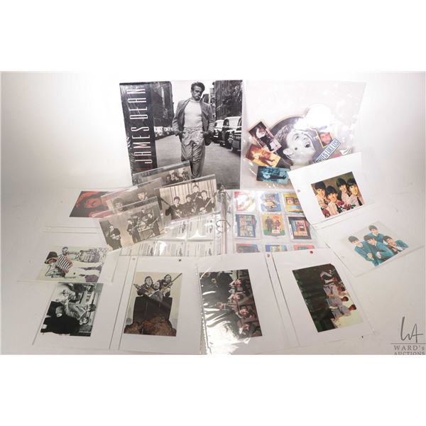 Selection of collectible merchandise including Beatles postcards, an unusual shaped pictorial 45 rpm