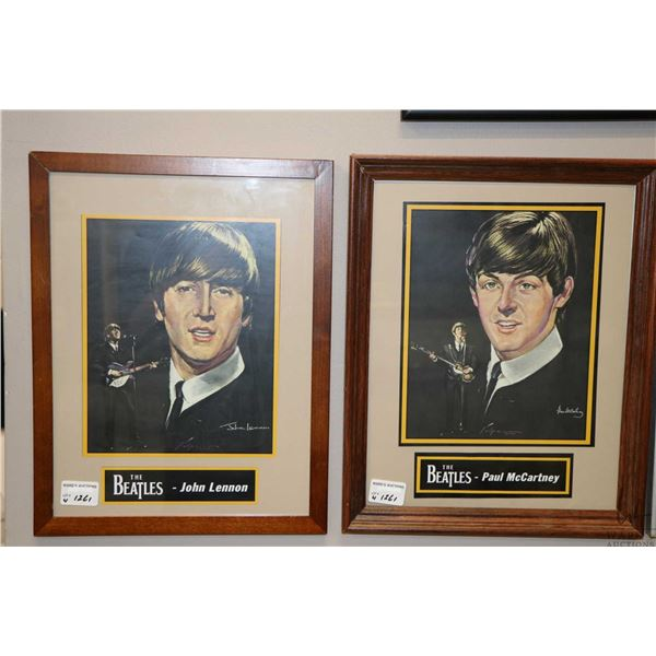 Four framed pictures, each depicting a different Beatle