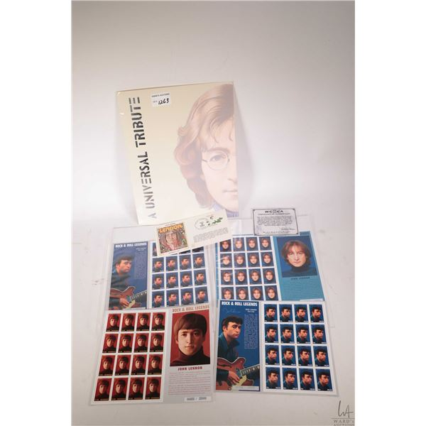 Universal Tribute folio containing six sheets of John Lennon stamps