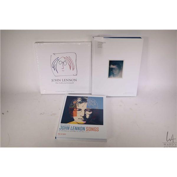 "Three John Lennon collectible books including hardcover ""John Lennon Song"", ""Imagine John Yoko"" and"