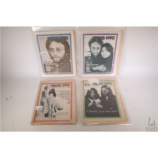 Four early copies of Rolling Stone magazine each with John Lennon or John and Yoko on the cover all