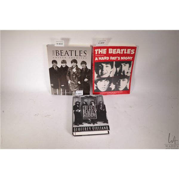 """Three Beatles collectible books including one soft cover and hardcover """"The Lost Beatles Interviews"""""""