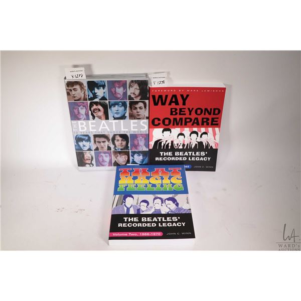 """Three Beatles collectible books including two soft covers and a hardcover """"The Beatles; 10 years tha"""