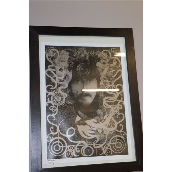 Three pieces of Beatles wall art including vintage framed George Harrison poster plus two modern pie