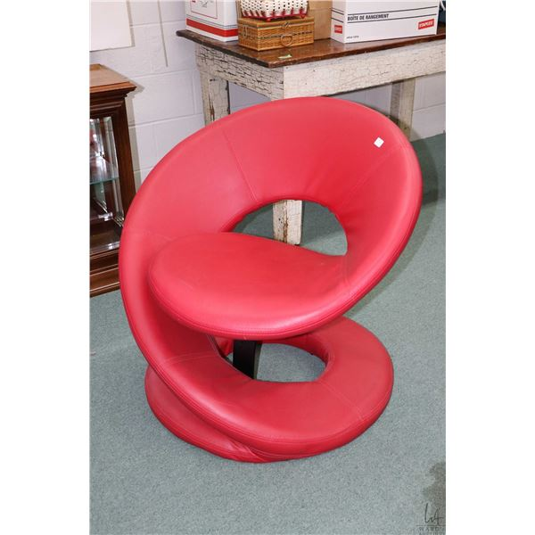 Modern bonded red leather chair made by Eztia